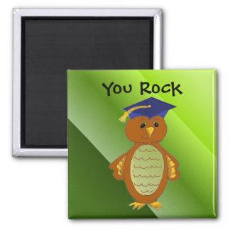 Graduation Owl You Rock 2 Inch Square Magnet