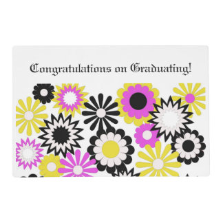 Graduation, paper place mat, floral, pink, yellow. laminated placemat