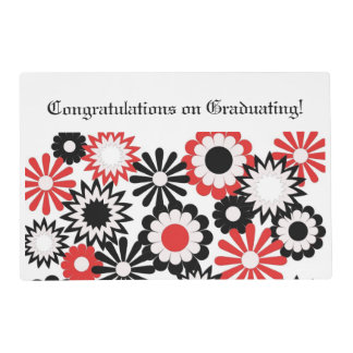 Graduation, paper place mat, floral, red, black. laminated place mat