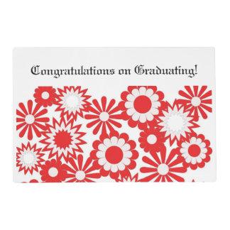 Graduation, paper place mat, floral, red, white. laminated place mat