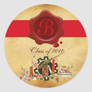 GRADUATION PARCHMENT AND RED WAX SEAL MONOGRAM CLASSIC ROUND STICKER