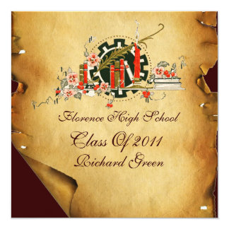 GRADUATION PARCHMENT AND RED WAX SEAL MONOGRAM 5.25X5.25 SQUARE PAPER INVITATION CARD