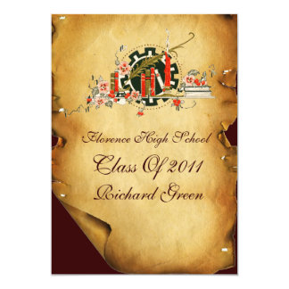 GRADUATION PARCHMENT AND RED WAX SEAL MONOGRAM 5X7 PAPER INVITATION CARD