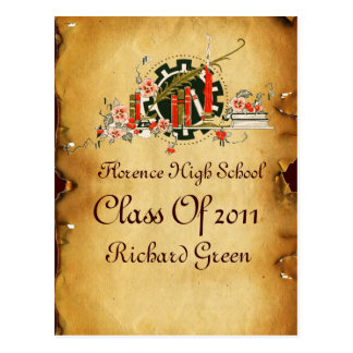 GRADUATION PARCHMENT AND RED WAX SEAL MONOGRAM POSTCARD