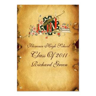GRADUATION PARCHMENT RED WAX SEAL MONOGRAM Felt 5x7 Paper Invitation Card