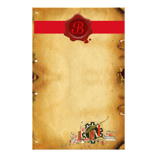 GRADUATION PARCHMENT RED WAX SEAL MONOGRAM STATIONERY
