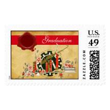 GRADUATION PARCHMENT RED WAX SEAL POSTAGE STAMPS