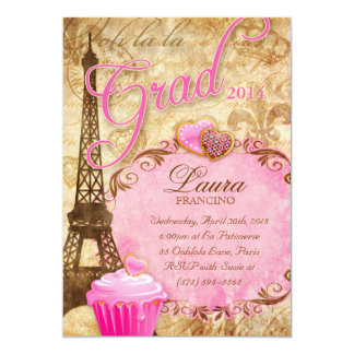 Graduation Paris Eiffel Tower Vintage Flower Pink Card