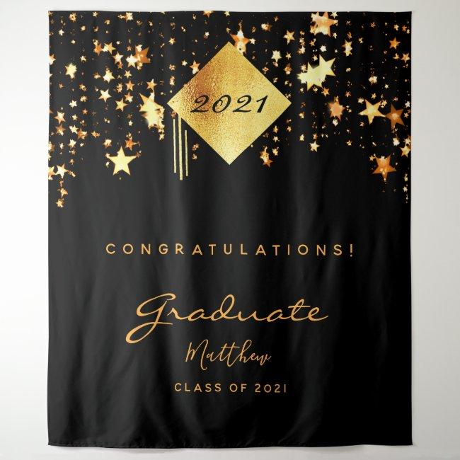 Graduation party 2021 black gold stars graduate tapestry