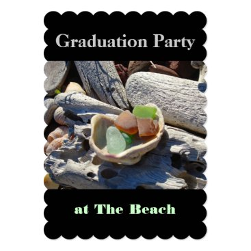 Beach Themed Graduation Party at the Beach Invitations Black