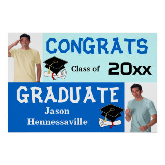 Graduation Party Banner Poster Add Photo Blue