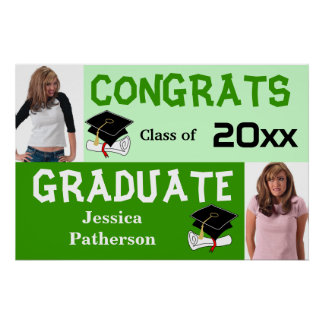 Graduation Party Banner Poster Add Photo Green