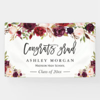 Graduation Party Banner - Rustic Burgundy Floral