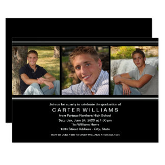 Graduation Party | Black and White Stripes Card