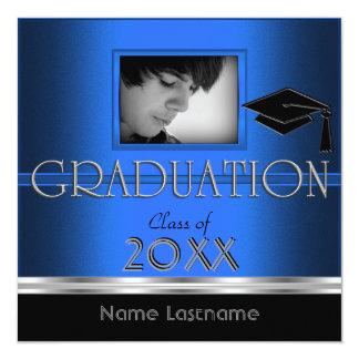 Graduation Party Black Silver Blue Photo Boy Male Invite