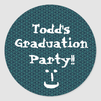 Graduation Party Blue and Teal Pattern Custom Classic Round Sticker