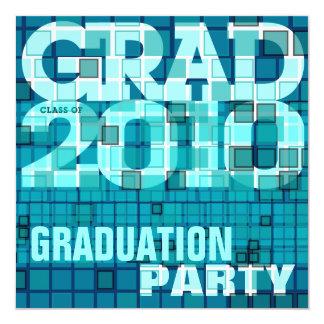 Graduation Party Blue Mosaic Invitation
