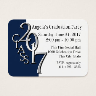 Graduation Party Blue Photo Insert Card 2017