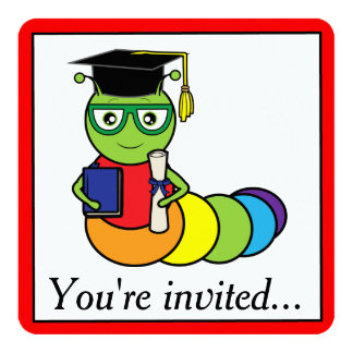 Graduation Party Bookworm Card