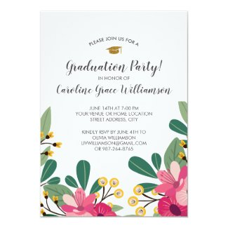 Graduation Party Chic Floral Graduate Photo Card