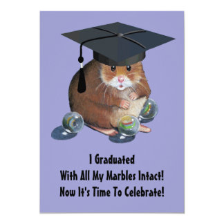 Graduation Party: Cute Hamster With Marbles, Cap Card