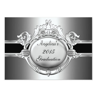 Graduation Party Elegant Black Silver Metal Announcement