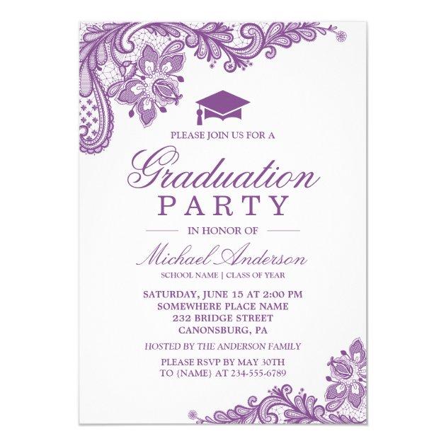 Graduation Party Elegant Lace Lavender Purple Card