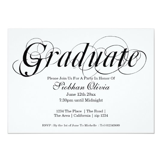 Graduation Party Fancy Text And Photo Template Card