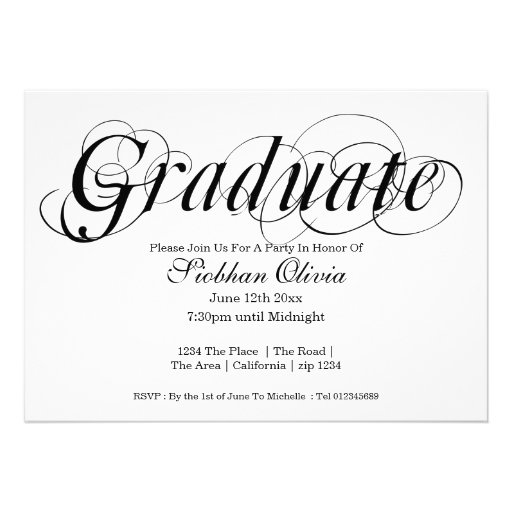 graduation party fancy text and photo template 5x7 paper invitation card zazzle. Black Bedroom Furniture Sets. Home Design Ideas