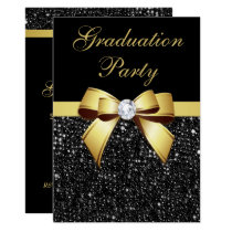 Graduation Party Faux Sequins Bow Black Gold Card