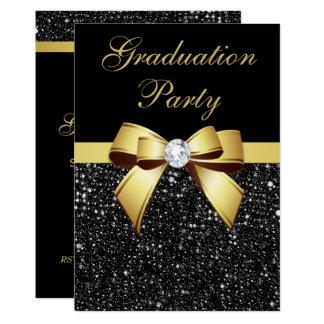 Graduation Party Faux Sequins Bow Black Gold Card
