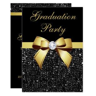 black gold graduation invitations zazzle