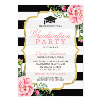 Graduation Party Floral Gold DIY Stripes Color Card