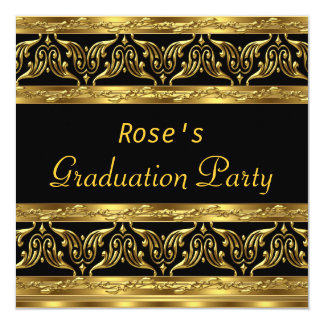 Graduation Party Gifts Gold Black Personalized Invitations
