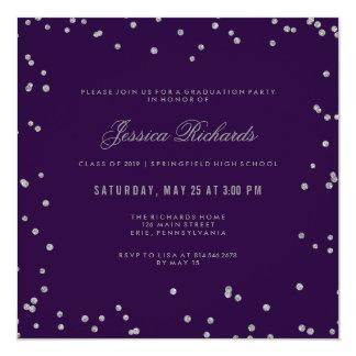 Graduation Party Glam Purple and Silver Confetti Card