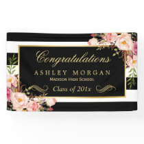 Graduation Party Gold Black White Floral Decor Banner