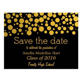Graduation Party Gold Foil Confetti Save The Date Postcard