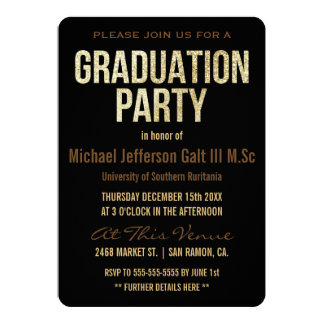 Graduation Party | Gold Glitter Cap Typographic Card