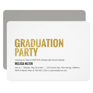Graduation Party, Gold Letters Card