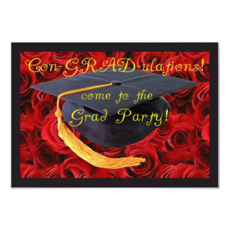 Graduation Party-Grad Cap on Bed of Roses Invite
