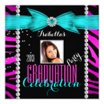 "Graduation Party Grad Pink Teal Blue Zebra Photo 5.25"" Square Invitation Card"