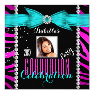 Graduation Party Grad Pink Teal Blue Zebra Photo 5.25x5.25 Square Paper Invitation Card