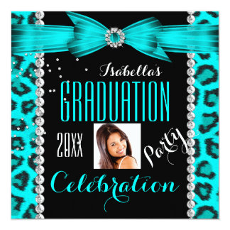 Graduation Party Grad Teal Blue Leopard Photo 5.25x5.25 Square Paper Invitation Card