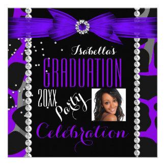 Graduation Party Grad Wild Purple Photo Invitation