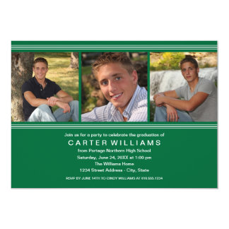 Graduation Party | Green Classic Stripes Card