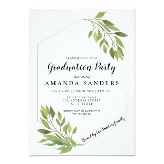 Graduation Party greenery modern invitation card