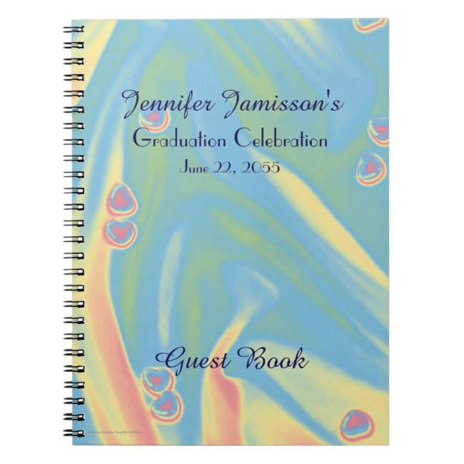 Graduation Party Guest Book, Blue with Hearts