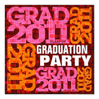 Graduation Party Invitation 2011 Orange Pink