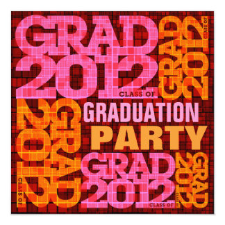 Graduation Party Invitation 2012 Orange Pink