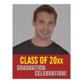 Graduation Party Invitation Add Photo Red 6